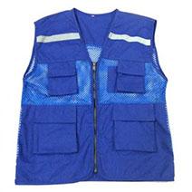 Áo ghi lê vải phối lưới 4 túi phản quang màu xanh dương